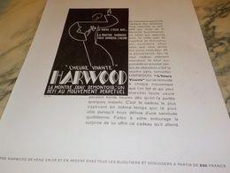 ANCIENNE PUBLICITE HEURE VIVANTE  MONTRE HARWOOD  1929 - Juwelen & Horloges