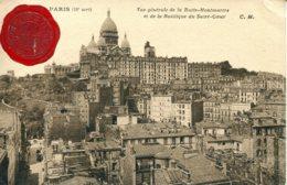 CPA - PARIS -  VUE GENERALE DE LA BUTTE MONTMARTRE ET BASILIQUE DU SACRE-COEUR (CACHET DE CIRE) - Sacré Coeur