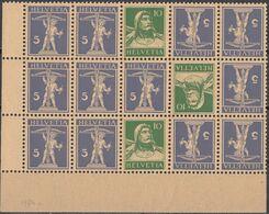 HELVETIA - SUISSE - SVIZZERA - 1924/1927 - Tête-bêche, Porzione Di Foglio, 15 Valori Nuovi MNH, Assortiti - Tete Beche