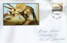 Prehistory In Europe.Thoracosaurus Dinosaur, Paleocene Period, Letter From Sweden - Covers & Documents