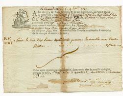!!! CONNAISSEMENT MARITIME D'ALEXANDRETTE DE 1787. RRR - Alte Papiere