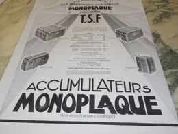 ANCIENNE PUBLICITE ACCUMULATEUR MONOPLAQUE TSF 1929 - Radio & TSF