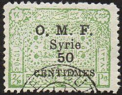 Syrie Obl. N°  75 - Timbre Du Royaume 50 C. Sur 2/10 Pi Vert-jaune Surchargé - Used Stamps