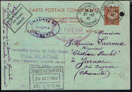 """Fr -1942- Carte Commerciale Entier Postal 80 C Pétain """"Complément De Taxe Perçu""""Chambre De Commerce De Digne Pour Jarnac - Entiers Postaux"""