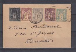 & France Sage Affranchissement Composé Multiple YT 83 85 87 88  Sur Entier Enveloppe SAG D 03 Pour Marseille - 1876-1898 Sage (Type II)