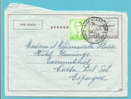 1068 Op AEROGRAMME Met Stempel RIXENSART Naar Espagne - Stamped Stationery
