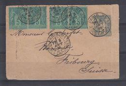 & France Sage Affranchissement Composé Multiple YT 75 X4  Sur Entier Enveloppe SAG D 03 Pour Suisse - 1876-1898 Sage (Type II)