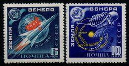 Russia 1961, Scott 2456-2457, MNH, Space, Venus, Sputnik - Neufs
