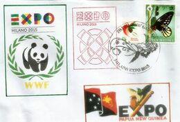 Papillon WWF De Papouasie, Sur Lettre WWF Du Pavillon Papouasie à L'EXPO UNIVERSELLE MILAN 2015, Tampons Du Pavillon - Papua Nuova Guinea