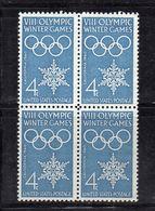Q338B - STATI UNITI 1960, Olimpiadi Di Squaw Valley In Fresche Quartine *** - Winter 1960: Squaw Valley