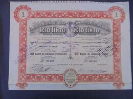 ESPAGNE -SAN SEBASTIEN 1906 - CIE MINIERE DU BAS RIO TINTO - ACTION DE 50 FRS - PEU COURANT - Azioni & Titoli