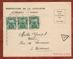 Faltbrief, Timbres Taxe Portomarken, Dijon Nach Beaune 1944 (96795) - 1859-1955 Covers & Documents