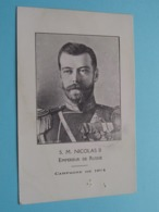 S.M. NICOLAS II > Empereur De RUSSIE ( Campagne De 1914 ) Edit. C. D. Rue Bodeghem 27 Bruxelles ( See / Voir Photo ) - Russia