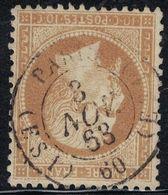 EMPIRE - N°21 - CACHET A DATE - PARIS - (ES1) 60 (ES1) - 3 NOVEMBRE 1868. - 1849-1876: Periodo Classico