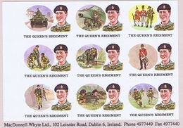 Ireland Military AirNorthern Ireland 1980s THE QUEENS REGIMENT Etiquettes For Forces Airmail, Sheet Of Nine Designs Mint - Unclassified