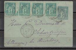 & France Sage Affranchissement Composé Multiple YT 75 X4 Sur Entier Enveloppe 5c SAG D02 Pour L'Allemagne - 1876-1898 Sage (Type II)