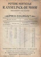 Heusden-Lez-Gand / Poterie Horticole R. Gyselinck De Moor / Prix Courant (voir état !!) Format 16x12cm - Ambachten