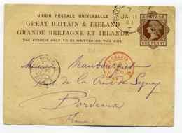 Entier Anglais De Padington + Marque D'entrée Angleterre Ambulant Calais Brigade D  / 1881 - 1877-1920: Période Semi Moderne