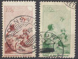 """HELVETIA - SUISSE - SVIZZERA - 1912 - Lotto Di 2 Erinnofili Usati """"Sole E Salute"""", Come Da Immagine. - Suiza"""