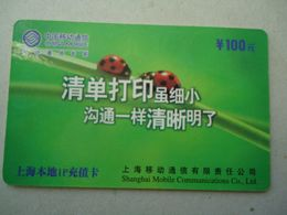CHINA  USED   PHONECARDS    INSECTS LADYBUGS - Coccinelle