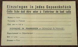 Etiquette Pour Envoi De COLIS PRISONNIER DE GUERRE Ou STO - Guerre De 1939-45