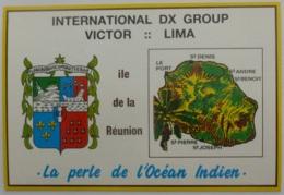 ILE DE LA REUNION - Blason / Armoirie - Carte Géographique De L'ile / Perle Océan Indien - Carte QSL - Sonstige