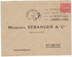 ESC 50c Semeuse OMEC Strasbourg Pl. Gare Bas Rhin 1928 - Postmark Collection (Covers)