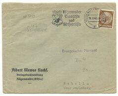 """DR Maschinenwerbestempel RÜGENWALDE (Ostsee) """"Rügenwalder Teewürste"""" 1940 Auf Firmen-Drucksache Nach Nebelin - Briefe U. Dokumente"""