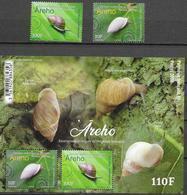 FRENCH POLYNESIA, 2020, MNH, SNAILS, ENDEMIC SNAILS OF POLYNESIA, 2v+ SHEETLET - Postzegels