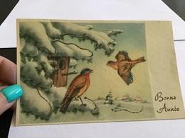 Carte De Vœux Bonne  Année Ancienne Oiseaux Paillettes - Año Nuevo
