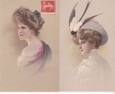 CPA Illustrateur ,M.M.VIENNE N°443 , Femme. 2 Cartes écrites. ( Signées: G.ELLKA.) - Andere Zeichner