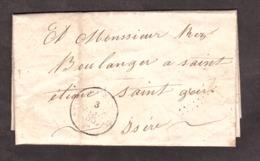 LAC - Janvier 1855 - Depuis ? Pour St Etienne St Geoirs - Timbre ôté De La Lettre (bas Droit Trace Du Cachet Losange) - 1849-1876: Classic Period
