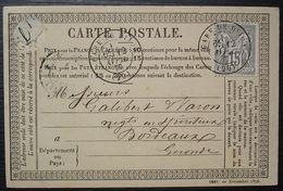 Gare De Dijon 1877 Cachet Sur 15 Centimes Gris Sage, Carte Précurseur Pour Bordeaux - 1877-1920: Période Semi Moderne