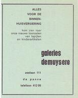 Pub Reclame - Galeries Demuysere - De Panne - 1969 - Werbung