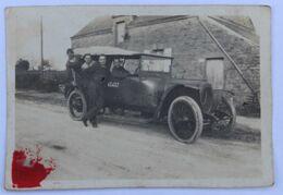 Photographie Ancienne De 1923 Avec 4 Personnages Route De Vannes à Elven Voiture Ancienne Eyaud Glanet - Coches