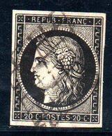 YT N° 3h Signé Goebel Avec Certificat - Cote: 110,00 € - Noir Intense Sur Blanc - 1849-1850 Ceres