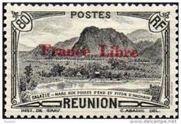 Réunion N° 201 ** Vue -> Salazie, Mare Aux Poules D'eau Et Piton D'Auchain - 80 C Noir, Surchargé France Libre - Nuevos