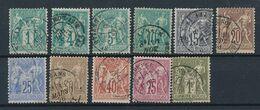 """DP-531: FRANCE: Lot Avec """"SAGE """" N°61-63/72 Obl - 1876-1878 Sage (Type I)"""