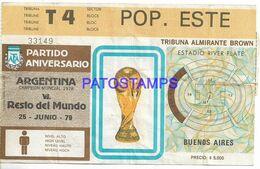 140845 ARGENTINA BUENOS AIRES PARTIDO ANIVERSARIO SOCCER FUTBOL ENTRADA TICKET NO  POSTAL POSTCARD - Toegangskaarten