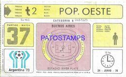 140846 ARGENTINA BUENOS AIRES PARTIDO WORLD CUP 1978 SOCCER FUTBOL PARTIDO 37 ENTRADA TICKET NO  POSTAL POSTCARD - Toegangskaarten