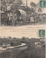 2 CPA:TREMBLAY (35) TRAIN GARE DE L'OUEST ÉTAT ROUTE DE ST BRICE,COUPLE CHARIOT DÉPART POUR LES COQUES..ÉCRITES - Frankreich