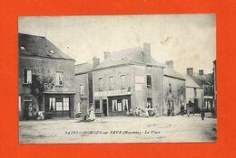 53 St Georges Sur Erve 1914 La Place Hotel Du Lion D'Or Neret TB Animée Dos Scanné Sans éditeur - Frankreich
