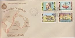 FDC Des Falkland N° 344 à 347 (Charles Darwin), Obl. Port Stanley Le 19.4.82 - Islas Malvinas