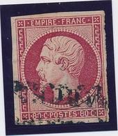 """80 C N° 17 A Carmin Obl Espagnole """"Barcelona"""" Signé Calves TB. - 1853-1860 Napoléon III"""