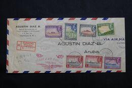 CURAÇAO - Enveloppe Commerciale En Recommandé Pour Aruba En  1943 Avec Contrôle Postal , Cachet FDC - L 68368 - Curaçao, Nederlandse Antillen, Aruba