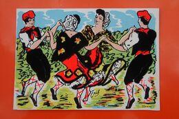 PL/31 Folkore Carte Postale Velours Feutrine Danseurs Danseuse Occitan Edition Publimodern Perpignan Homme Femme Basque - Danses