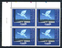 BE   2755  XX   ---  René Magritte  --  Bloc De 4 Coin De Feuille  --  Parfait état - Dated Corners