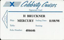 USA: Celebrity Cruises, Ship Mercury - Hotelkarten