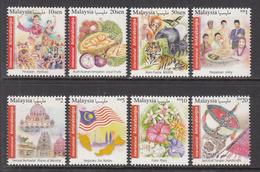 2016 Malaysia International Definitives Tigers Monkeys Fruit Flowers Complete Set Of 8 MNH - Malaysia (1964-...)