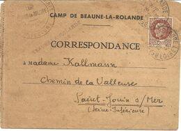 LETTRE . CAMP DE BEAUNE LA ROLANDE + CENSURE + CACHET DU CAMP - Poststempel (Briefe)